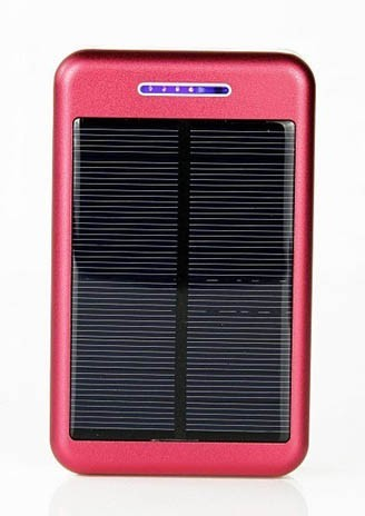5V Power Bank with Solar Panel 10000mAh - RED