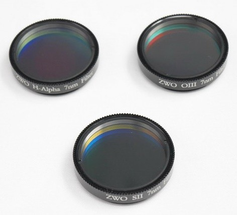 "ZWO 1.25"" H-alpha SII OIII 7nm Narrowband Filter Set"