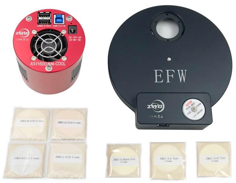 ZWO ASI1600MM-PRO COOLED Deep Sky Imaging Camera with EFW 8, 31mm RGBL Filter Set & 31mm H-alpha, OIII, SII 7nm Filter Set BUNDLE