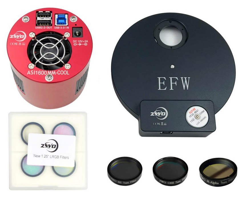 "ZWO ASI1600MM COOLED Deep Sky Imaging Camera with EFW 8, 1.25"" RGBL Filter Set & 1.25"" Ha, SII, OIII 7nm Filter Set BUNDLE"