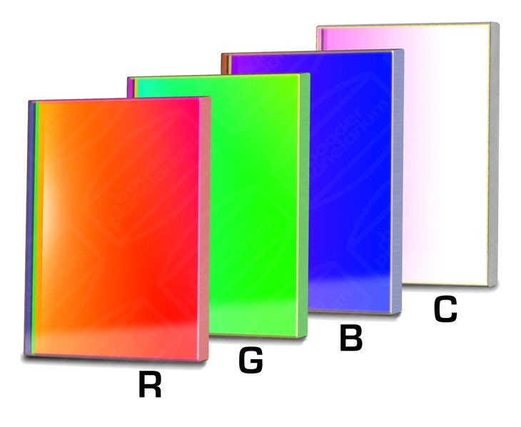 Baader RGBC-CCD-Filter-Set 50x50mm Square, RGB +Clear-Gl