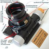"""Lacerta Octo60 Rack and Pinion Precision Dual-Speed Focuser with 8 Bearings, M59 Thread and 2"""" CenterLock Self-Centering Eyepiece Holder"""