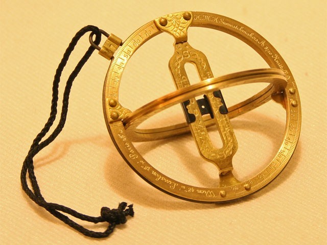 Universal Brass Ring Pocket Sundial / Sunwatch with Adjustable Latitude - SHINY