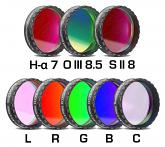 """Baader CCD Complete Filterset 1.25"""" LRGBC, H-alpha 7nm, OIII 8.5nm, SII 8nm - 2mm thick, 8 Filters"""