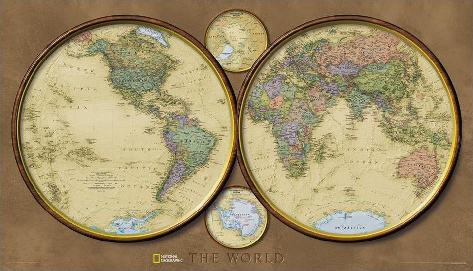 World Hemispheres Encapsulated Map 104 x 61 cm