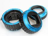 Commlite Macro Extension Tube Set TTL Autofocus for Canon EOS EF / EF-S Lenses - METAL - BLUE COLOUR