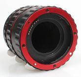 Commlite Macro Extension Tube Set TTL Autofocus for Canon EOS EF / EF-S Lenses - METAL - RED COLOUR